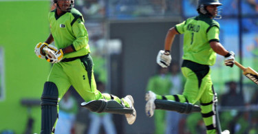 Pakistan's batsmen Khan Sarjeel (L) and Khalid Latif runs between the wickets during the men's cricket semifinal match against Afghanistan at the 16th Asian Games in Guangzhou on November 25, 2010. AFP PHOTO / Saeed Khan (Photo credit should read SAEED KHAN/AFP/Getty Images)